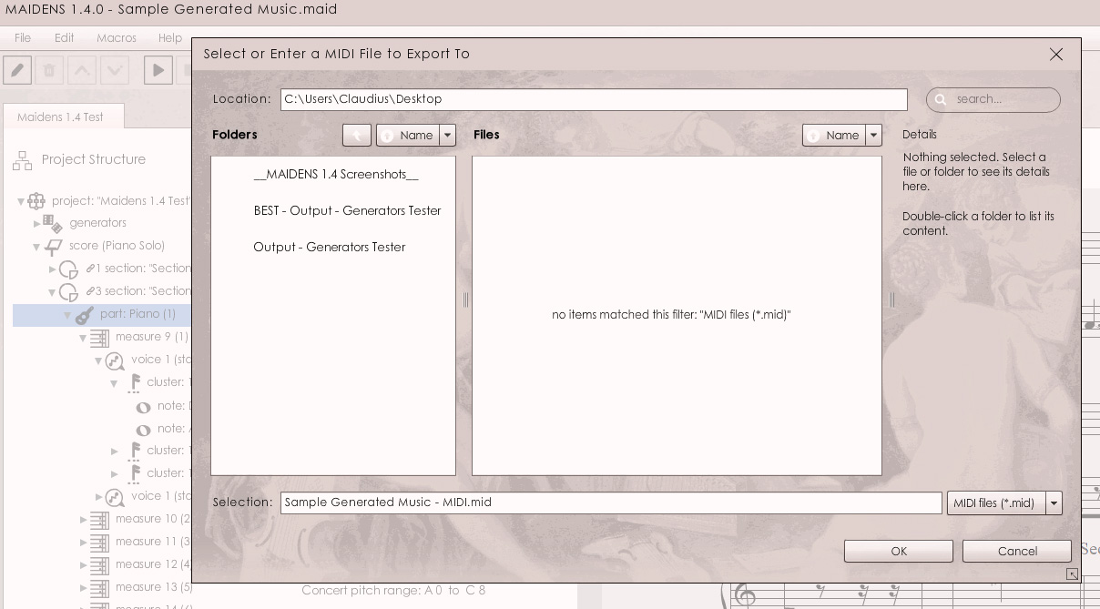 MAIDENS 1.4: Navigator UI while saving a MIDI file