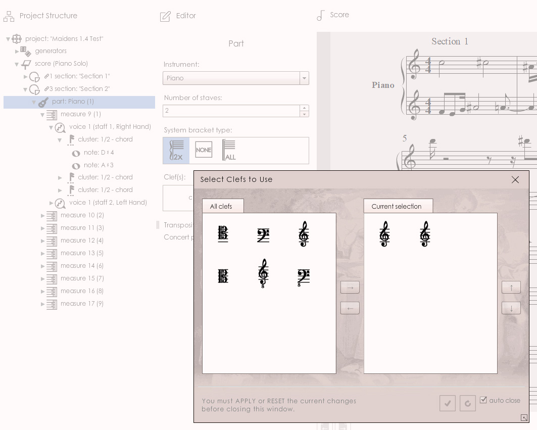 MAIDENS 1.4: Picker UI showing available clefs to choose from