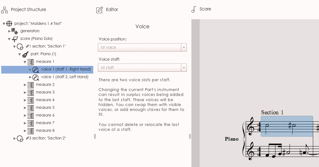 MAIDENS 1.4: a Voice Node selected